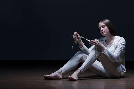 skinny girl: Teenage skinny girl with eating disorder Stock Photo