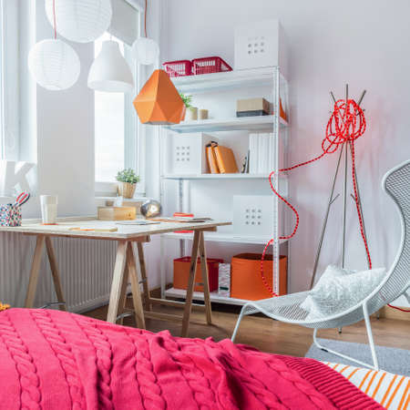 small room: Small modern designed teenage girls room