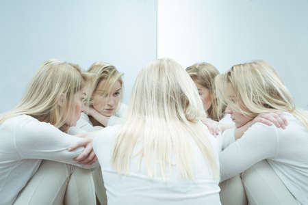 psychotic: Photo of sad woman with anxiety disorder Stock Photo