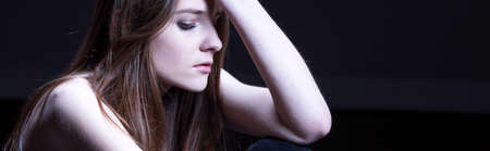 maltreatment: Young teen is thinking about her problems Stock Photo