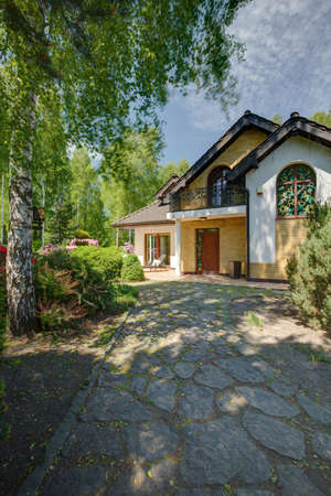 driveway: Photo of driveway with trees to elegant stylish mansion