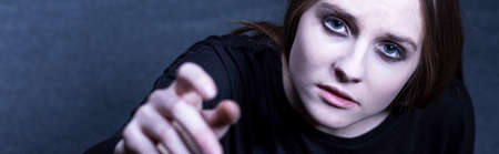 maltreatment: Young girl is tired because of her depression Stock Photo