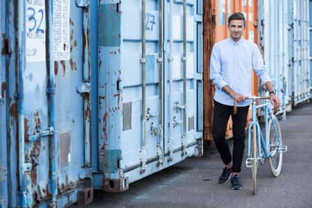ecofriendly: Young man and eco-friendly way to get to work