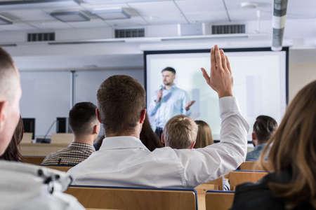 学生は、講義中に挙手 写真素材