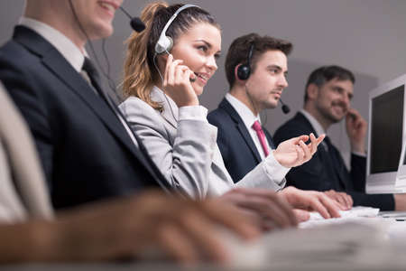 Professional workers of call center during work Stock Photo