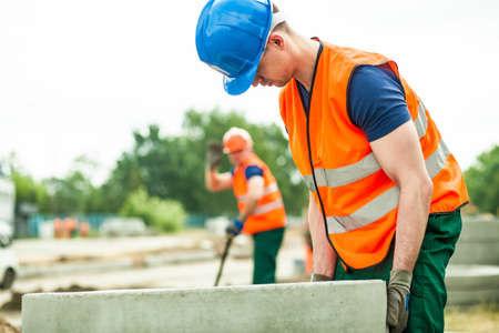 strong: Young strong labor and big concrete circles