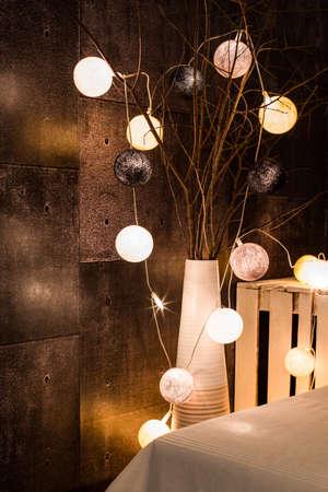 modern interior: Close up of decorative lighting in modern interior