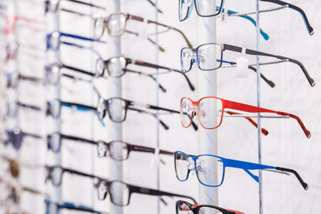 selection: Modern designed eyeglasses rims in a row