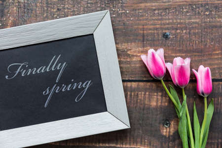 Image of pink tulips and a writing in a frame