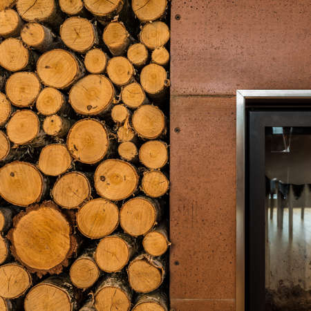 woodburning: Close-up of fireplace and firewood in contemporary apartment Stock Photo
