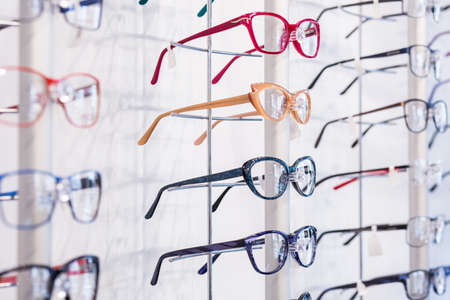 rims: Colorful eyeglasses rims in modern shapes in row
