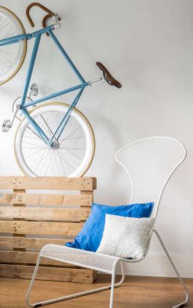 hang up: Stylish blue bike in modern new room