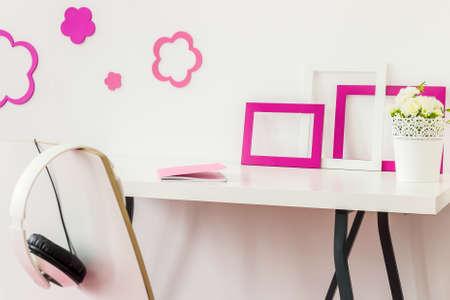 Well organized white desk in white study room Reklamní fotografie