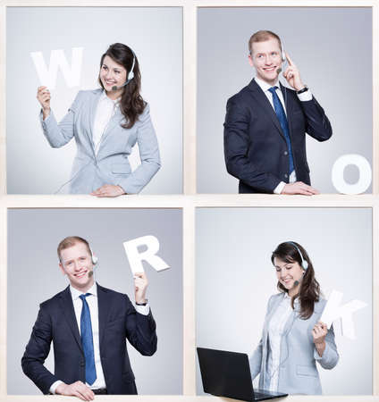 company job: Man and woman holding white writing work, frame project