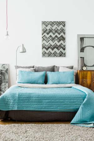 Acogedora habitación de diseño moderno con cama de matrimonio