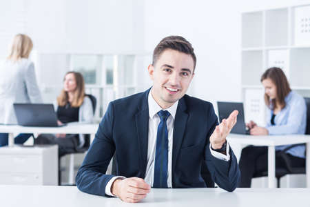 first job: Young man has his first job interview Stock Photo
