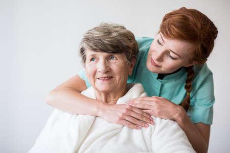 geriatric: Photo of nurse and senior female patient on geriatric ward Stock Photo