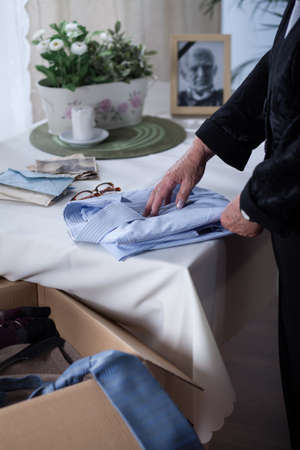 grieving: Widow is hiding her dead husband clothes