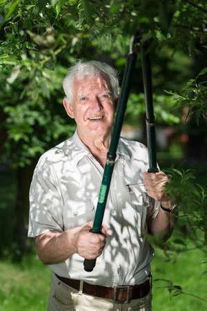 hojas antiguas: anciano está trabajando en su jardín podar los árboles Foto de archivo