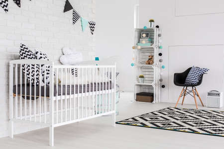 baby blue: Shot of a spacious childrens room