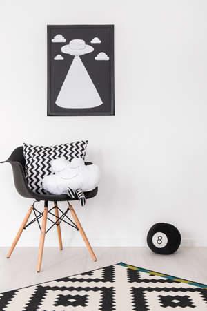 baby nursery: Shot of a black and white room
