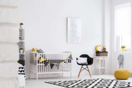 yellow walls: Shot of a modern room for children