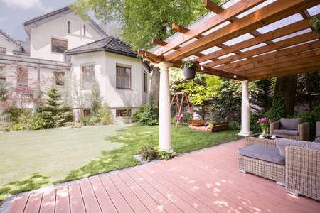 gazebo: Beauty luxury residence with garden and gazebo