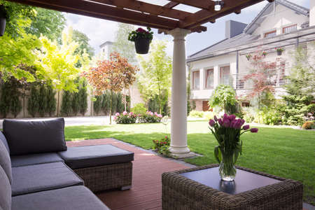 flower garden: Cozy and elegant terrace of the house