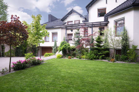 External view of detached house with beautiful garden
