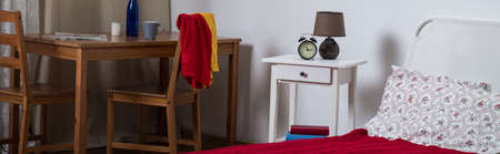 cosy: Panorama of lonely woman simple and cosy house interior Stock Photo
