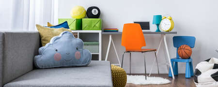 room decor: Study and living room combined for child, panorama Stock Photo