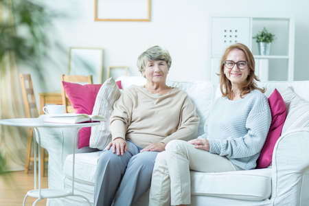 grandmother: Elder lady is spending time with her daughter