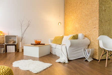 warm home: Spacious room with white furniture, flooring and chipboard wall Stock Photo