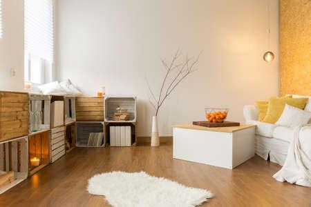Moderne woonkamer met handgemaakte boekenkast, vloeren, een bank en tafel