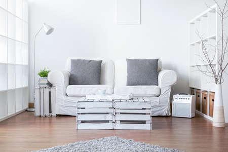Living room with sofa and handmade small table