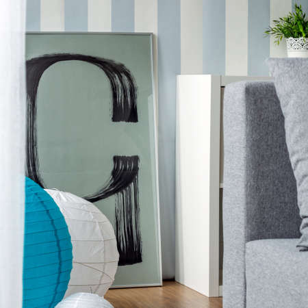 striped wallpaper: Photo of stylish blue and white striped wallpaper Stock Photo