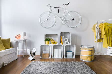 living room wall: Modern living room with white stylish bicycle hanging on wall