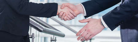 two hands: Cropped picture of two business people shaking hands