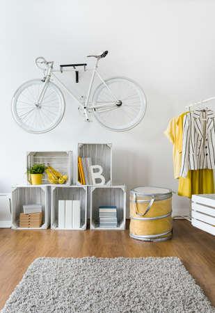 original bike: Spacious living room with modern stylish decorations and original design Stock Photo