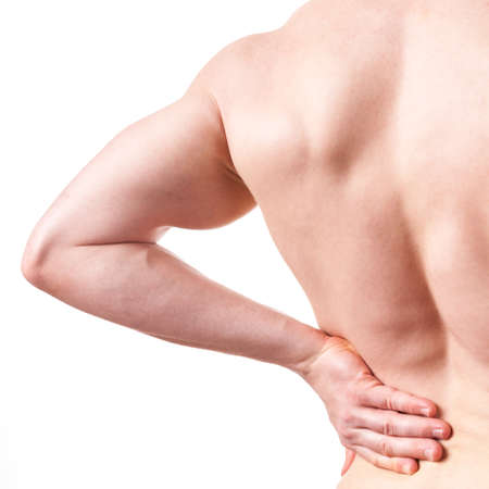 white back: Man with pain of lower back - white background