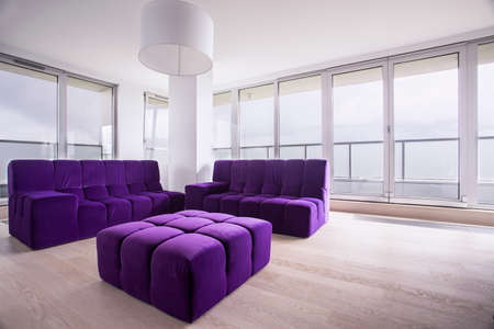 hassock: Modern Violet hassock and sofa in living room