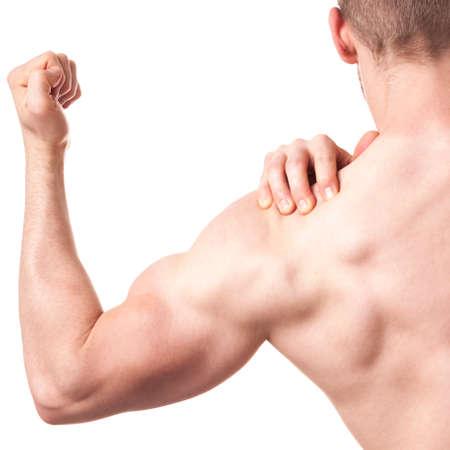 deltoid: Muscular man having pain of arm - isolated