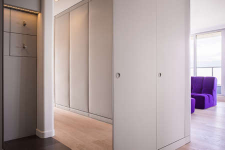 garderobe: Modern spacious hall design in spacious flat Stock Photo