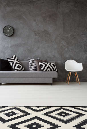 Grey living room with sofa, chair, pattern carpet and pillows in black and white
