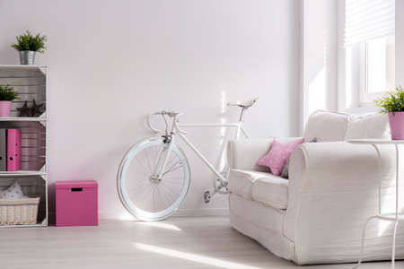 living room design: Light interior with handmade wood bookcase, sofa and white bike