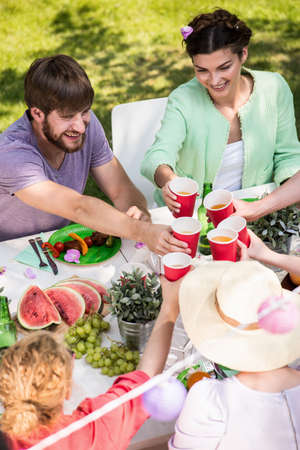 dinner party: Spending time with friends outdoors during summer weekend