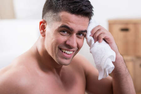 sweaty: Sweaty young muscular man after hard workout Stock Photo