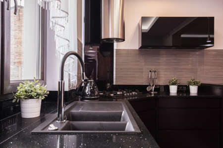 Closeup of countertop and granite sink in brocade kitchen