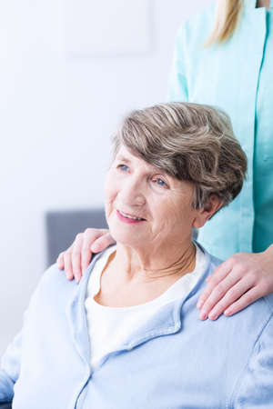 afflictions: Portrait of happy senior with health afflictions