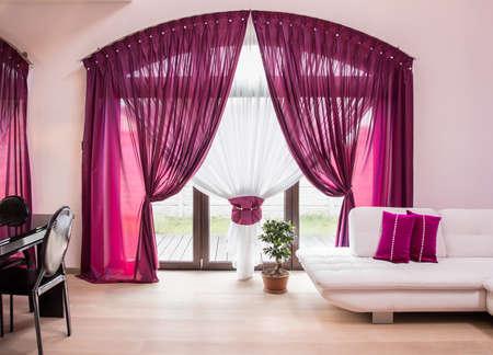 big window: Big window with elegant drapes and curtain
